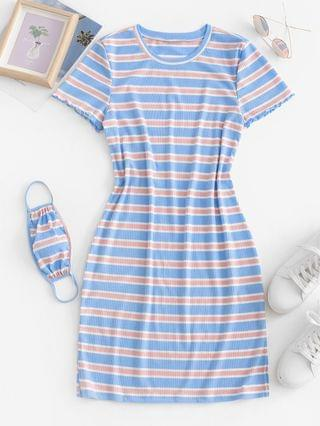 WOMEN Ribbed Striped Bodycon Dress With Face Mask - Light Blue M