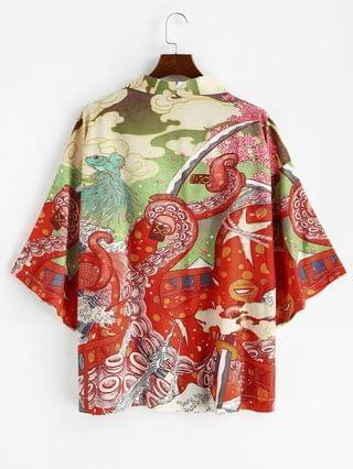 MEN Open Front Octopus Fish Print Oriental Kimono Cardigan - Lava Red 2xl
