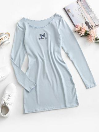 WOMEN Lettuce Trim Butterfly Embroidered Bodycon Jersey Dress - Powder Blue S