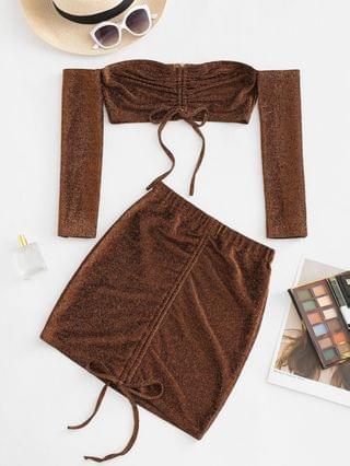 WOMEN Off Shoulder Metallic Thread Cinched Ruched Slinky Two Piece Dress - Coffee Xl