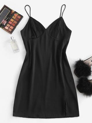 WOMEN Silky Slit Bustier Cami Slip Dress - Black M
