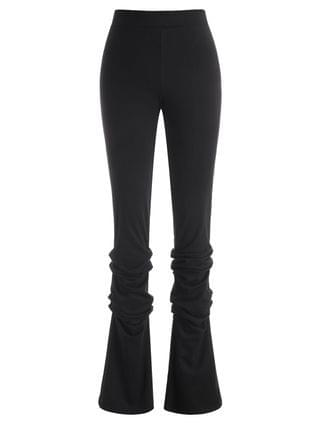 WOMEN Zipper Fly Ruched Stacked Pants - Black S