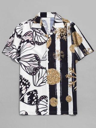 MEN Snowflake And Butterfly Print Vacation Shirt - White L