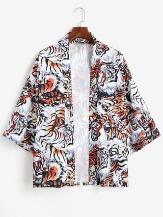 MEN Open Front Tiger Allover Kimono Cardigan - Tiger Orange 2xl