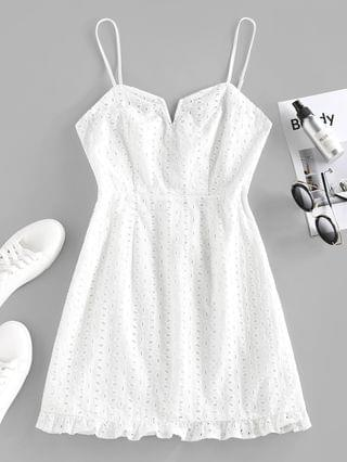 WOMEN Broderie Anglaise Ruffle V Wired Mini Dress - White M