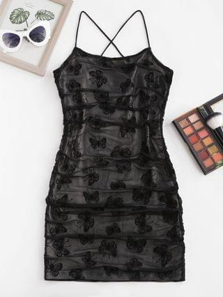 WOMEN Flocking Butterfly Mesh Ruched Cami Bodycon Dress - Black S