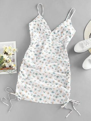 WOMEN Ditsy Floral Ruched Pintuck Cami Dress - White Xl