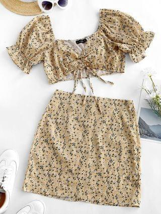 WOMEN Cinched Ditsy Floral Sweetheart Two Piece Dress - Light Yellow L