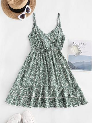 WOMEN Ditsy Print Smocked Back Flouned Hem Surplice Sundress - Green S