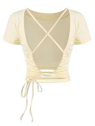 WOMEN Crisscross Open Back Midriff Flossing Baby Tee - Light Yellow M