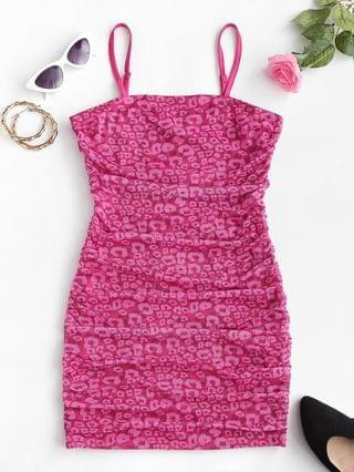 WOMEN Mesh Leopard Bodycon Ruched Cami Dress - Light Pink S