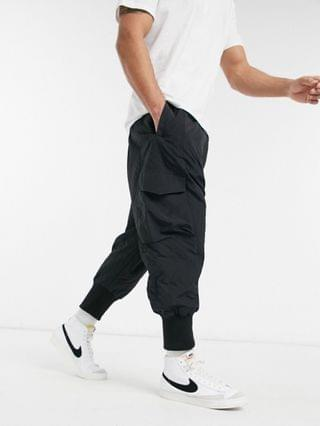 oversized drop crotch pants with elasticated waist in quilted design