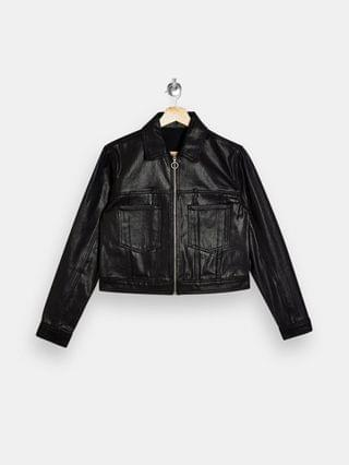 WOMEN Topshop denim jacket in coated black