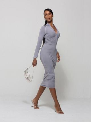 WOMEN WMNSwear plunge zip-front long sleeve midi dress in gray