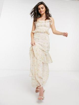 WOMEN Hope & Ivy bridesmaid tiered ruffle cami maxi dress in ditsy ivory floral