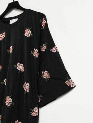 WOMEN Maternity oversized t-shirt dress with floral embroidery all over design in black