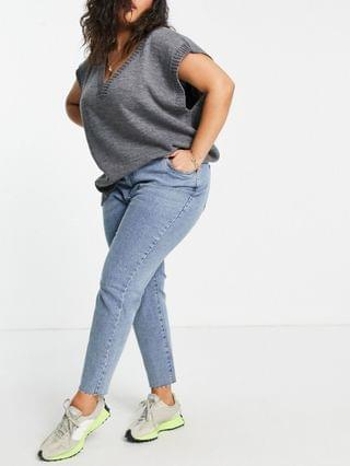 WOMEN Cotton On Curve high waisted mom jean in mid wash