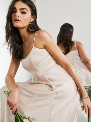 WOMEN EDITION satin cami maxi dress with square neck in pink