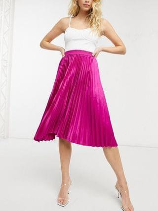 WOMEN Outrageous Fortune pleated maxi skirt in fuschia print