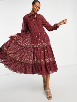 WOMEN all over embroidered high neck tiered maxi dress in oxblood
