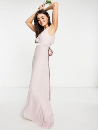 WOMEN TFNC bridesmaid plunge front bow back maxi dress in mink