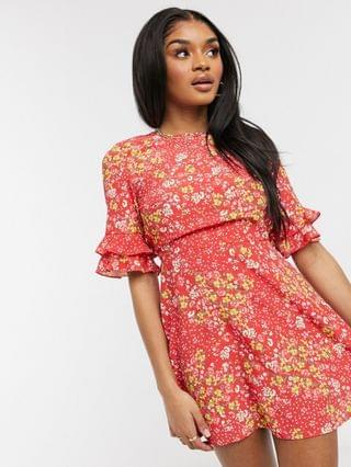 WOMEN Miss Selfridge Petite mini dress with frill cuff detail in red ditsy floral
