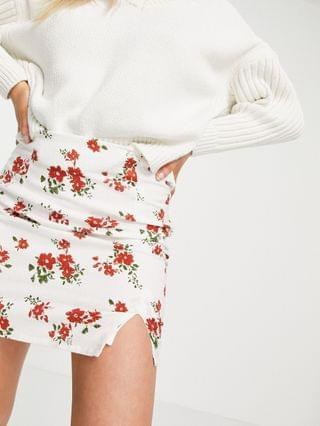 WOMEN Petite mini skirt in linen look with notch hem in red floral print