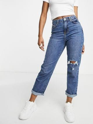 WOMEN New Look ripped straight leg jeans in blue