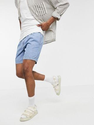 slim lightweight denim shorts in mid wash with double pleat