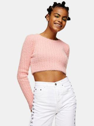 WOMEN Topshop fluffy ribbed cropped sweater in pink