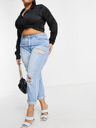 WOMEN Missguided Plus riot high waisted mom jean with roll hem in blue