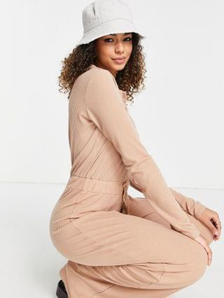 WOMEN In The Style x Olivia Bowen ribbed jumpsuit with collar detail in stone