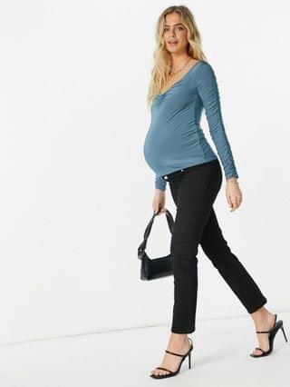WOMEN Club L London Maternity off shoulder ruched sleeve top set in petrol blue