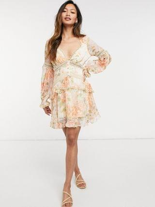 WOMEN lace insert mini dress with button detail in garden floral