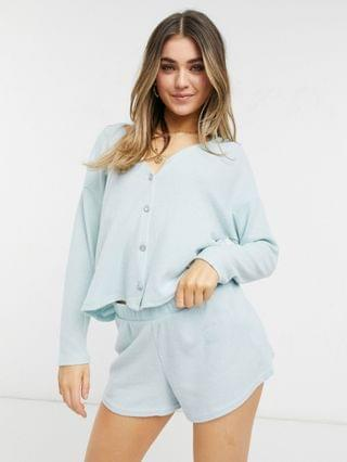 WOMEN New Look ribbed lounge cardi shorts set in blue