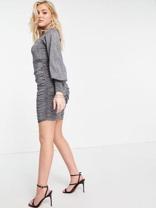 WOMEN Lipsy knitted ruched detail mini dress in gray