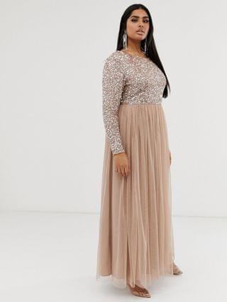 WOMEN Maya Plus Bridesmaid long sleeve maxi tulle dress with tonal delicate sequins in taupe blush