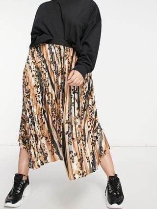 WOMEN Outrageous Fortune Plus pleated maxi skirt in animal print