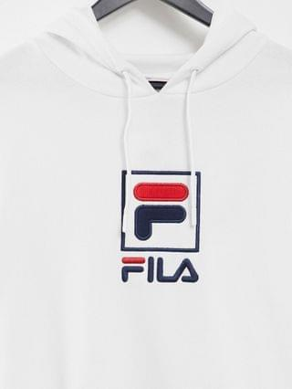 Fila large box logo hoodie in white exclusive to