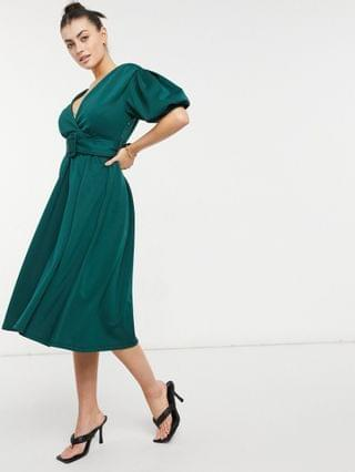 WOMEN plunge belted skater midi prom dress in forest green