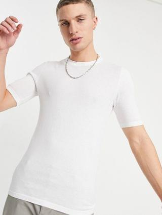 knitted muscle fit t-shirt in white