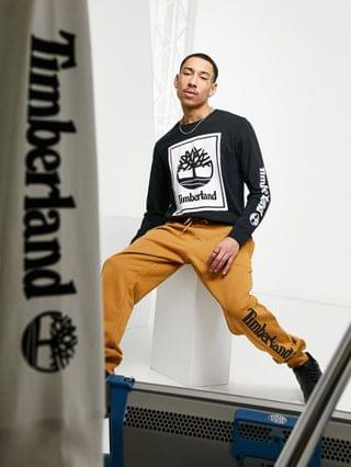 Timberland YC Stack Logo long sleeve t-shirt in black