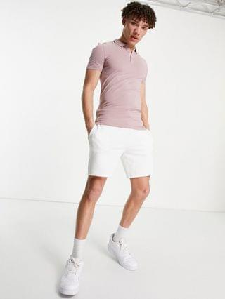 New Look muscle fit jersey polo in pink