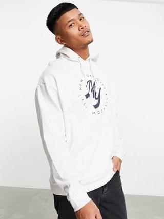 oversized hoodie with collegiate New York front print