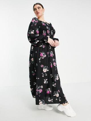 WOMEN Yours long sleeve shirred bardot maxi dress in multi