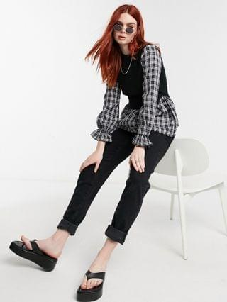 WOMEN New Look check shirt 2 in 1 sweater in black