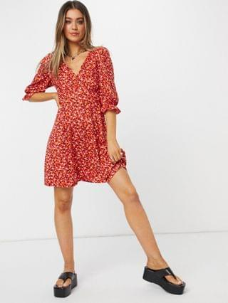 WOMEN New Look v neck tea dress in red floral