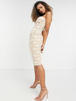 WOMEN Bardot corset detail lace midi dress with sheer overlay in soft peach