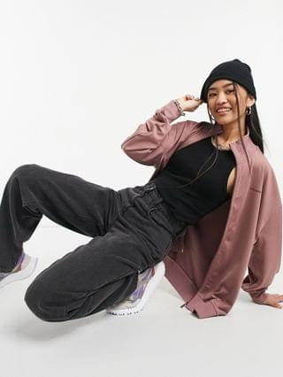 COLLUSION Unisex track jacket in poly tricot in dusty pink - part of a set