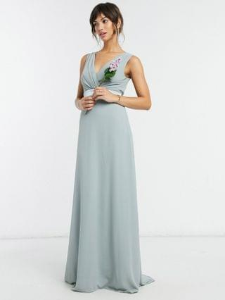 WOMEN TFNC bridesmaid plunge front bow back maxi dress in sage